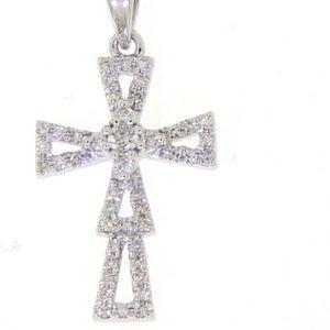 14K White Gold Cross Religious Fine Pendant